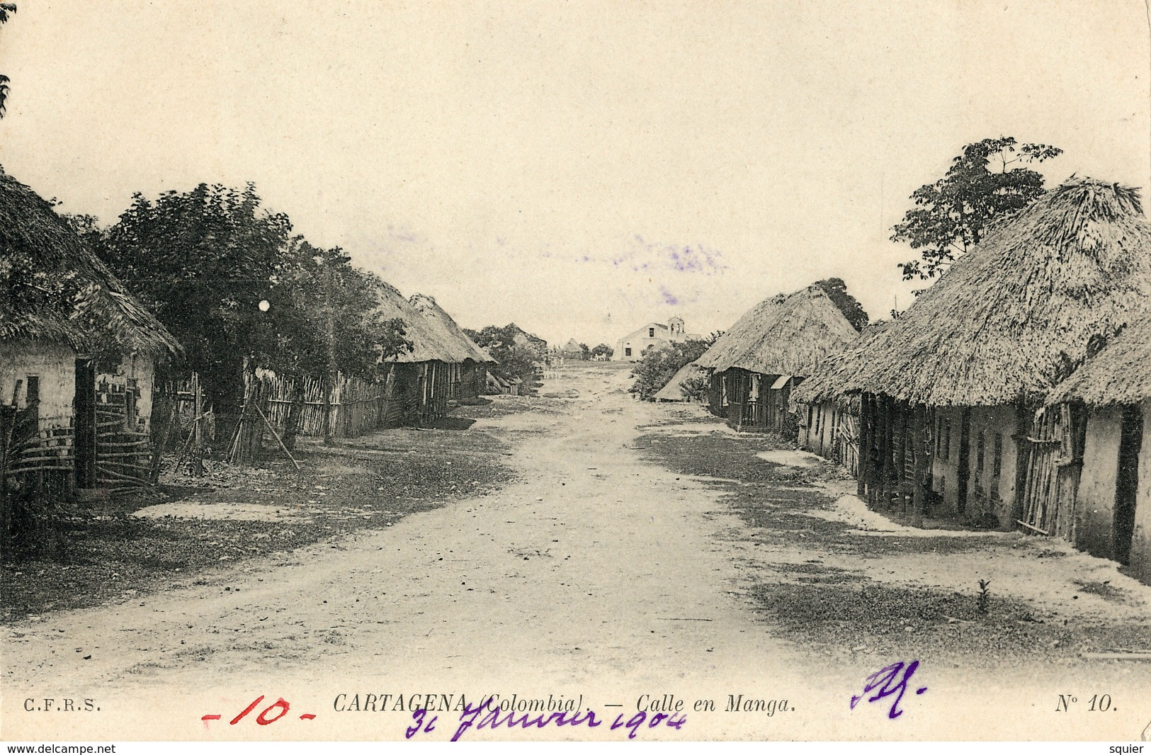 Cartagena, Calle En Manga, Estampillas Prospero Pinzon, 1904 - Colombia