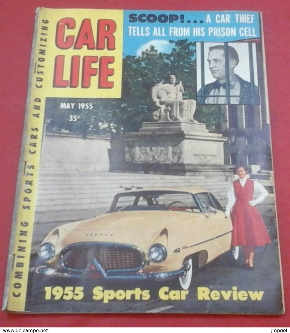 Rare Revue Vintage Automobile Américaine Car Life Mai 1955 Voitures Sports 1955 MG Porsche Maserati Ferrari Aston Martin - Boeken, Tijdschriften, Stripverhalen