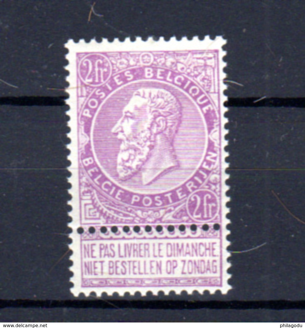 1893-1900   Belgique, 2F/blanc Léopold II (fine Barbe),  67*(beau Centrage, Fine Charnière), Cote  210 €, - 1884-1891 Leopold II