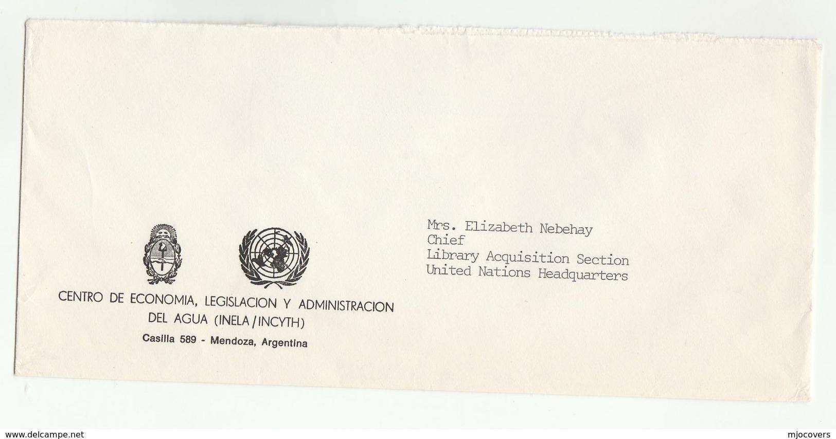 UN In ARGENTINA UN WATER ADMINISTRATION  INELA Mendoza  COVER To UN NY USA United Nations - UNO