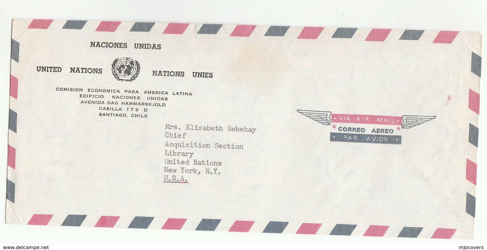 UN In CHILE UNECLA  SANTIAGO  COVER To UN NY USA Economic Commission For Latin America United Nations - UNO