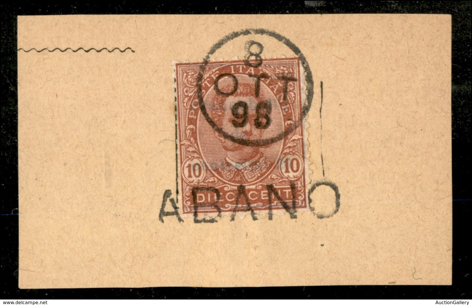 20745 REGNO D'ITALIA - UMBERTO I - Abano + Muto A Data (8.10.98) – 10 Cent Umberto (60) Su Frammento - Briefmarken