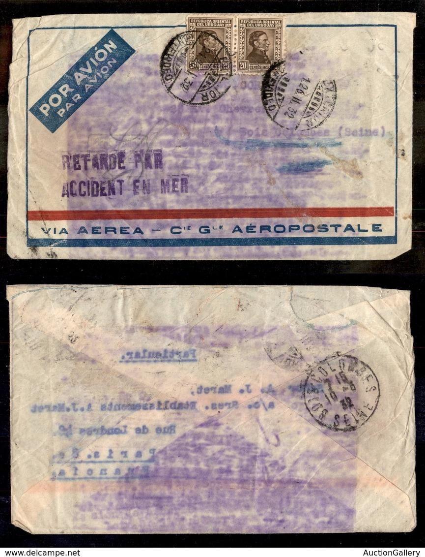24983 ESTERO - URUGUAY - 1932 – Retarde Par Accident En Mer – Aerogramma Da Montevideo A Parigi - Briefmarken