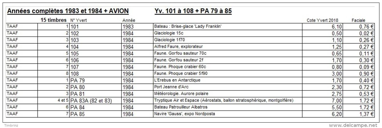 TAAF Années Complètes 1983 & 1984 + AVION - Yv. 101 à 108 + PA 79 à 85 ** SUP  Faciale= 9,18 EUR - 15 Timbres  ..Réf - Volledig Jaar