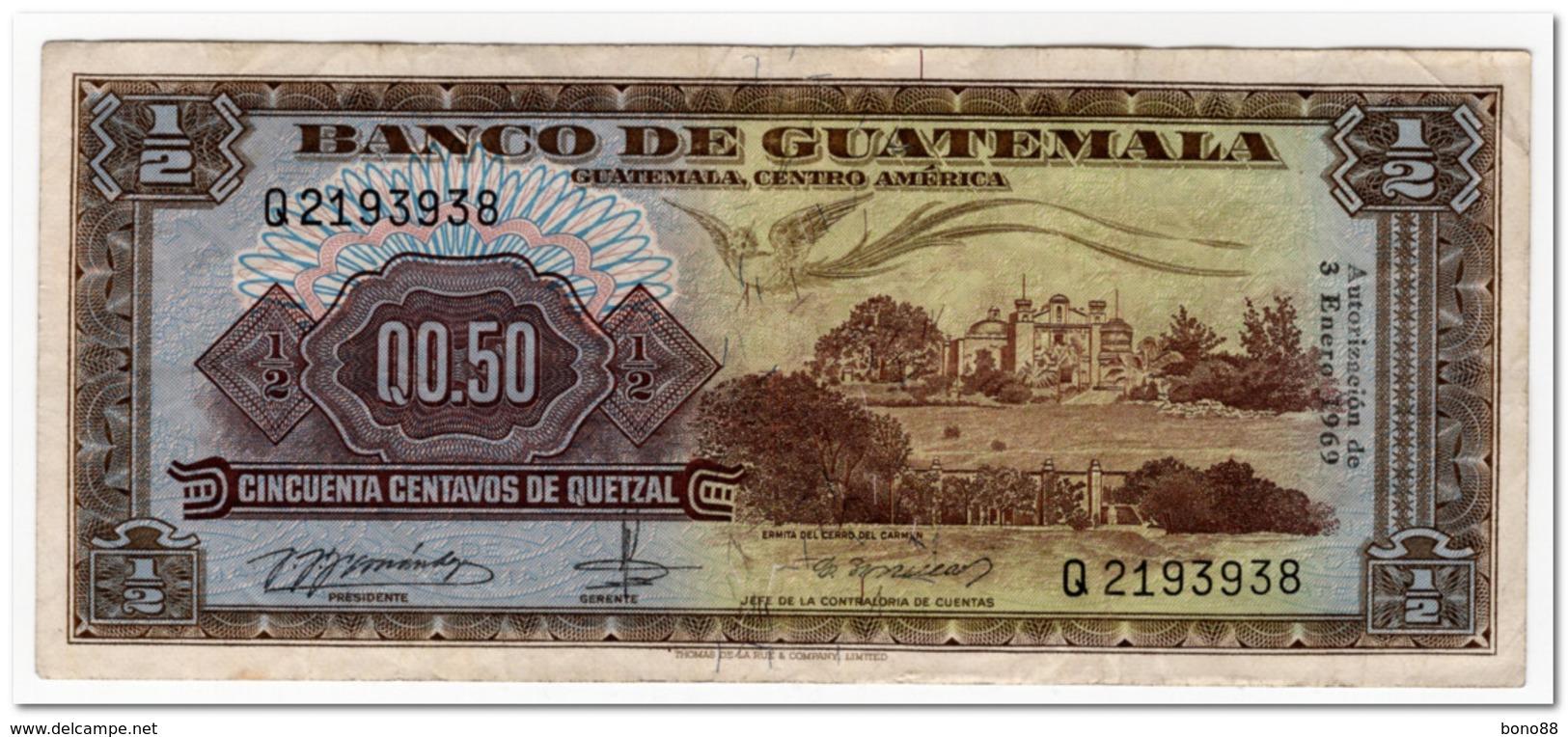 GUATEMALA,0,5 QUETZAL,1969,P.51,VF - Guatemala