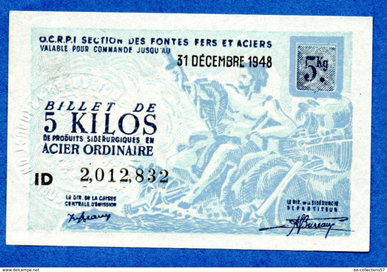 Bon Pour 5 Kg D Acier Ordinaire --  31 Dec 1948 - Bonos