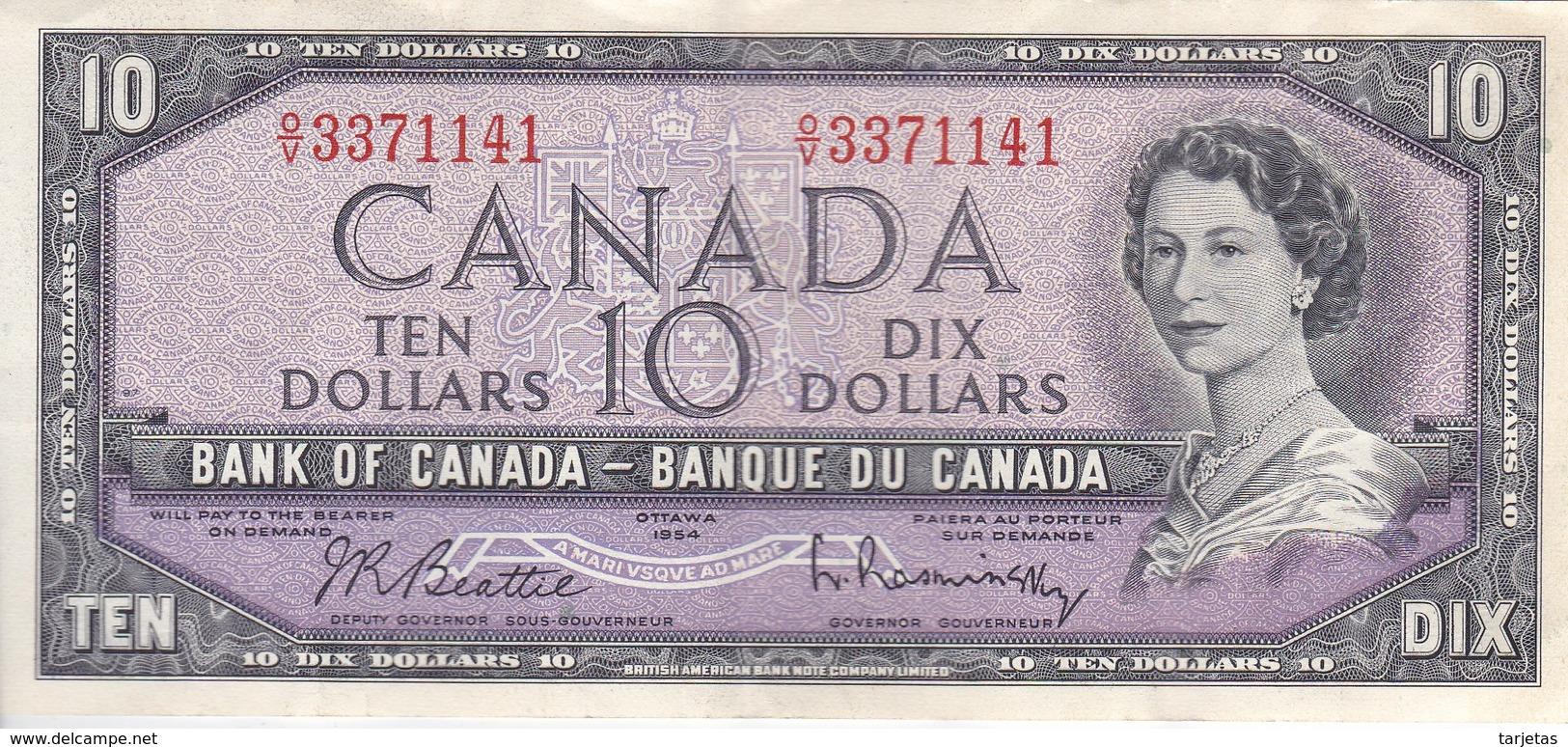 BILLETE DE CANADA DE 10 DOLLARS DEL AÑO 1954 EN CALIDAD EBC (XF) (BANKNOTE) RARO - Canada