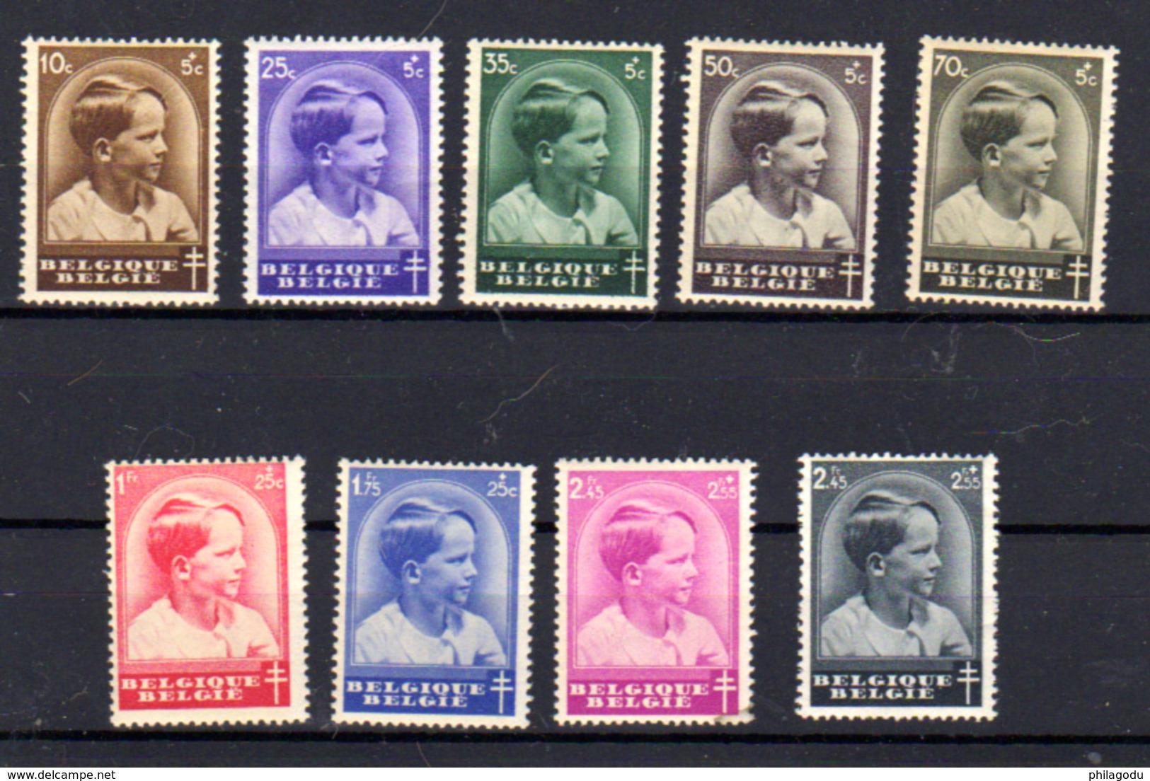 1936  Belgique, Prince Baudoin, 438 / 445** (pts Rouille), Cote 30 €, - Bélgica
