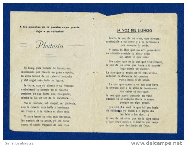 POESIA (Bienvenido Gómez) Pliego De Cordel 1956 - Programas