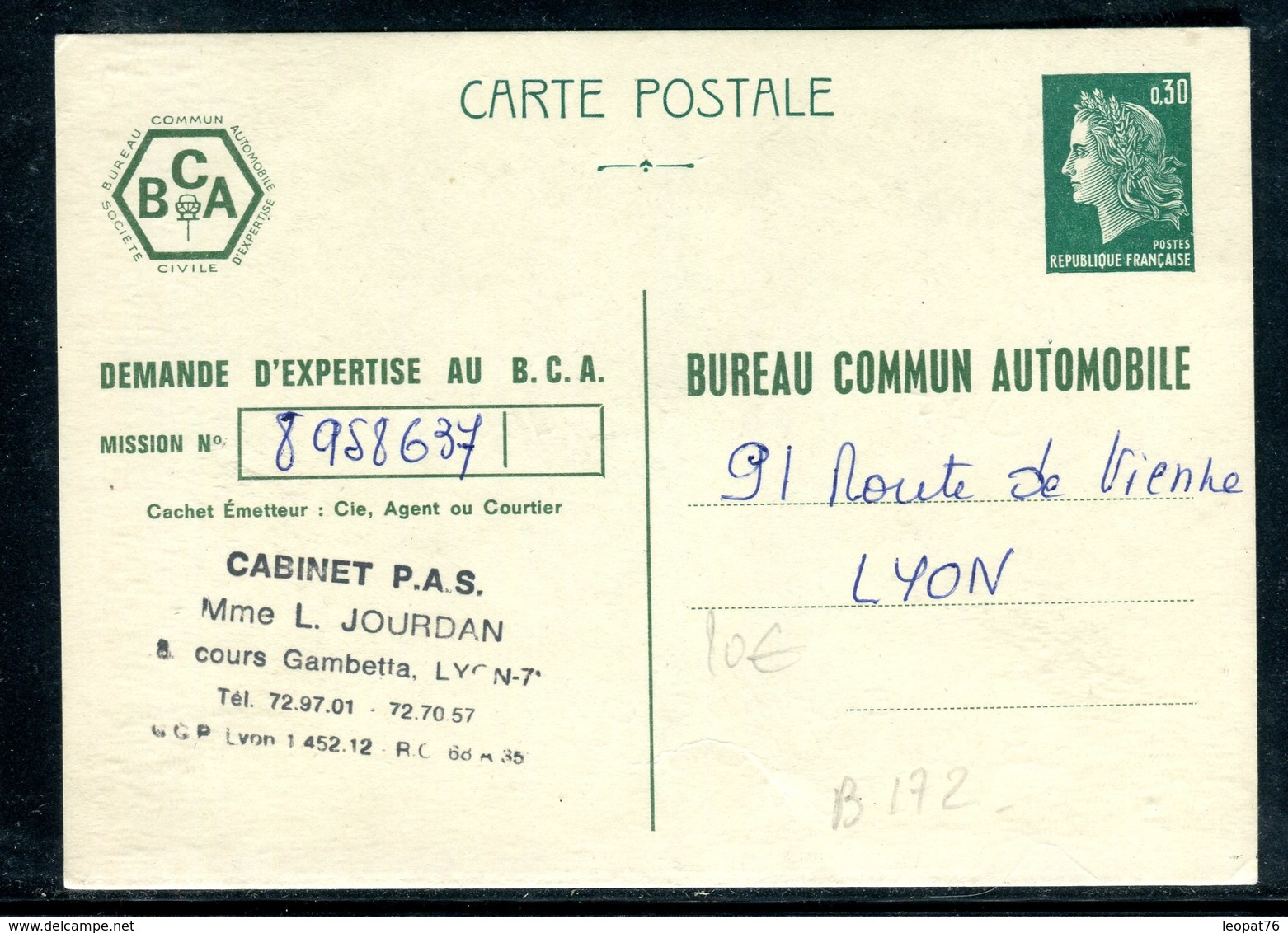 Entier Postal Type Cheffer , Repiquage Bureau Commun Automobile - Entiers Postaux