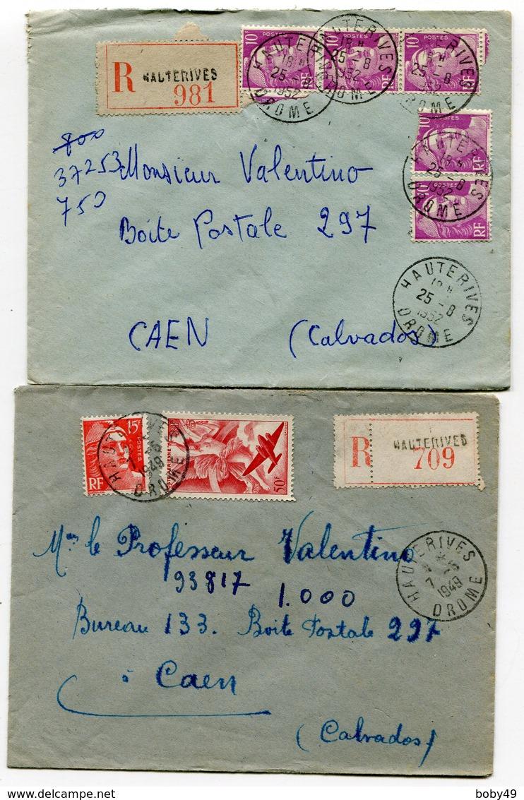 DROME De HAUTERIVES 2  Env. Recom. De  1949  1952  Avec Dateur   A 6 Et A 7 - Marcofilia (sobres)