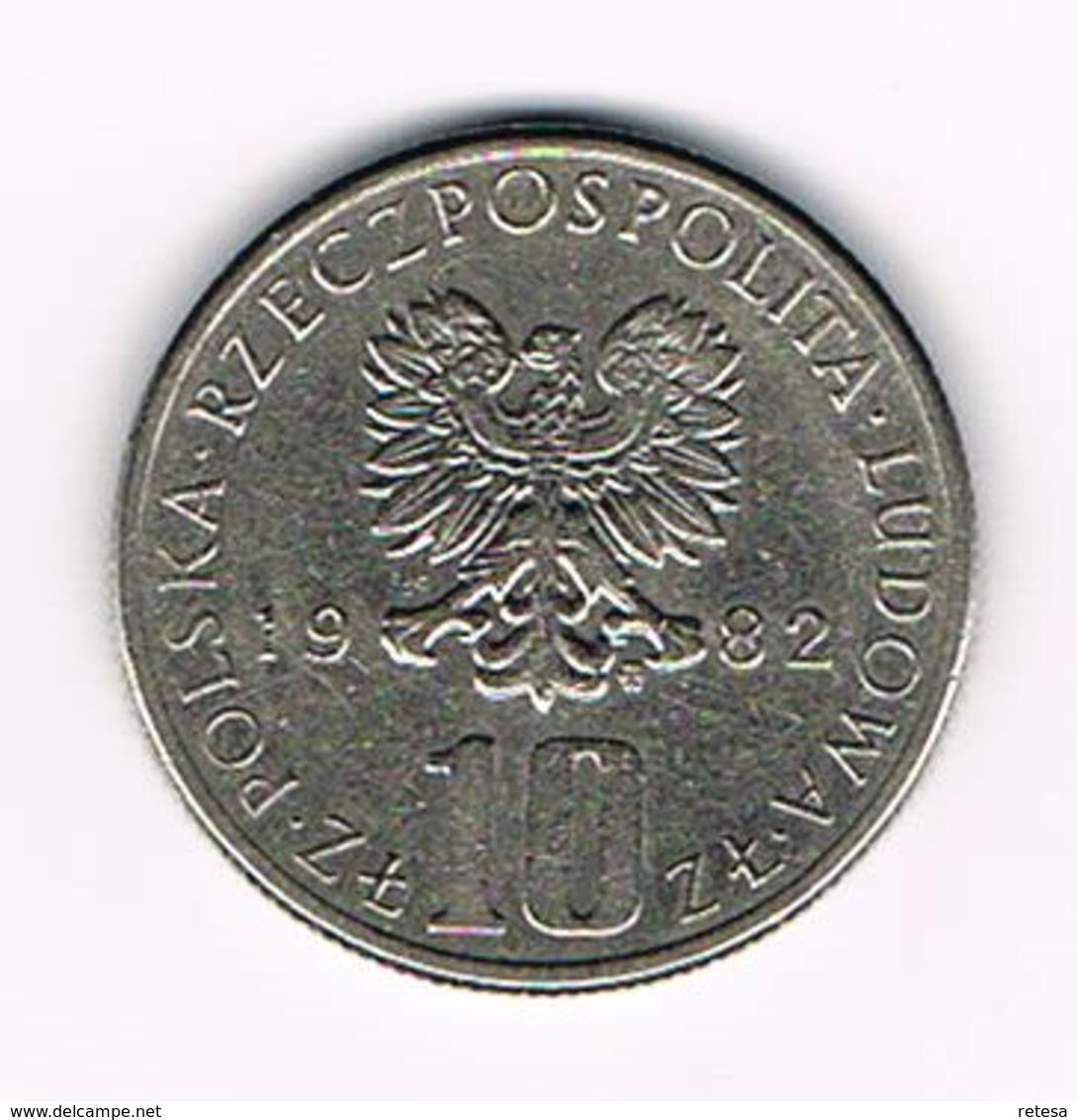 &-   POLEN  10 ZLOTYCH  1982  BOLESLAW  PRUS - Polen