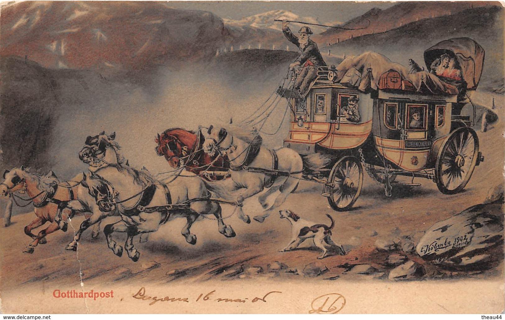 "¤¤   -  SUISSE   -   LUGANO   -  Gotthardpost  -  Illustrateur "" E. Koberbe ""    -   ¤¤ - TI Tessin"