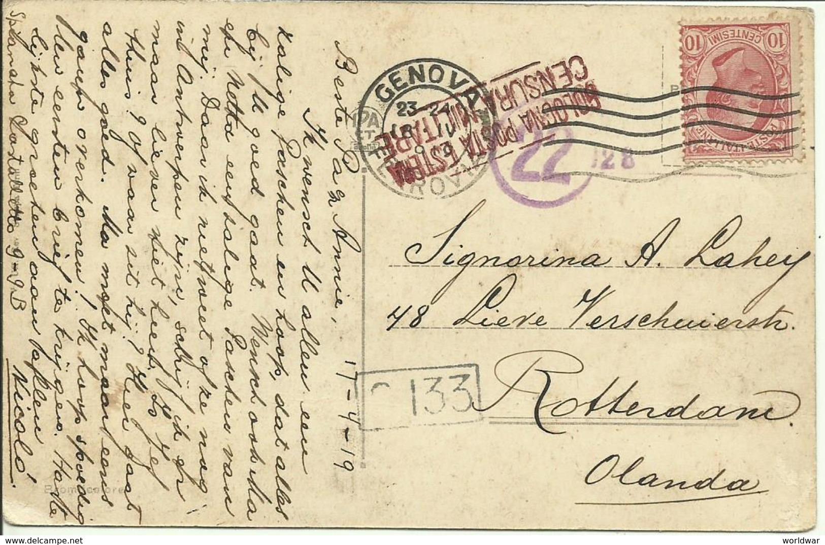 1919  Postcard From Genova To Rotterdam, Holland  Censored In Italy & Holland - 1900-44 Victor Emmanuel III.