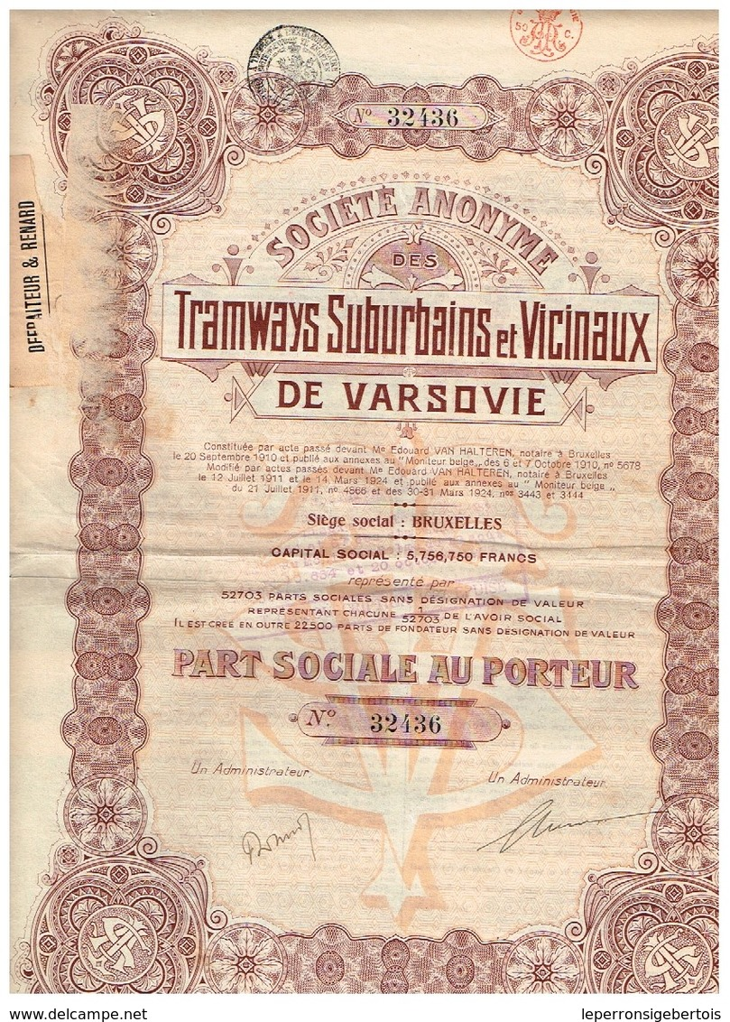 Action Ancienne - Société Anonyme Des Tramways Suburbains Et Vicinaux De Varsovie - Titre De 1924 - - Chemin De Fer & Tramway