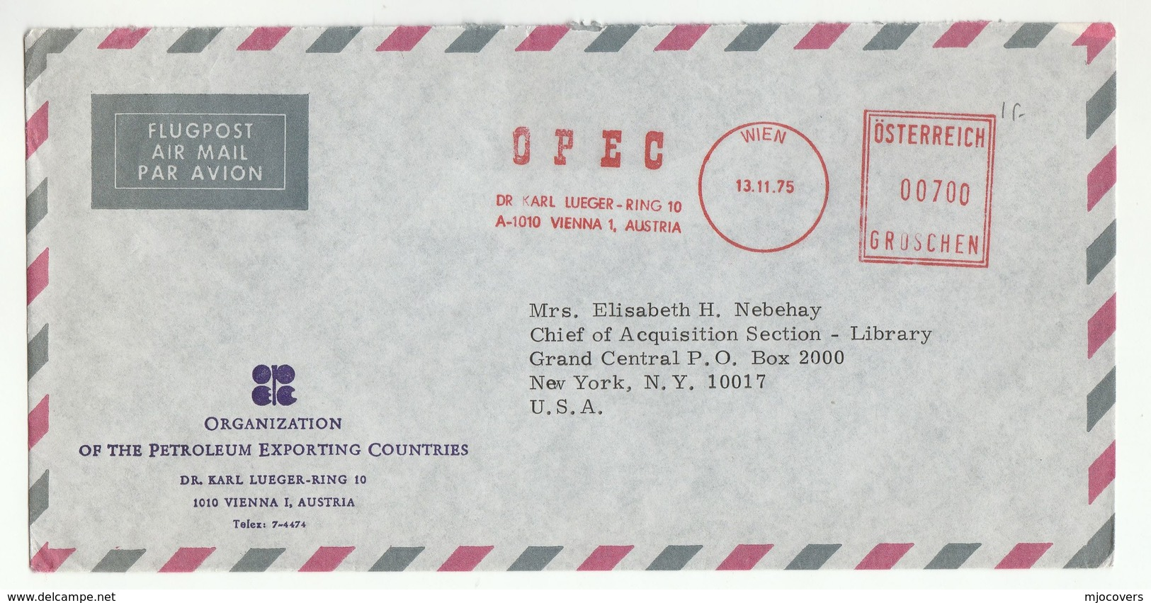 1975 OPEC VIENNA To UN NY USA Austria To United Nations METER SLOGAN OPEC COVER Airmail Stamps OIL Energy - Pétrole