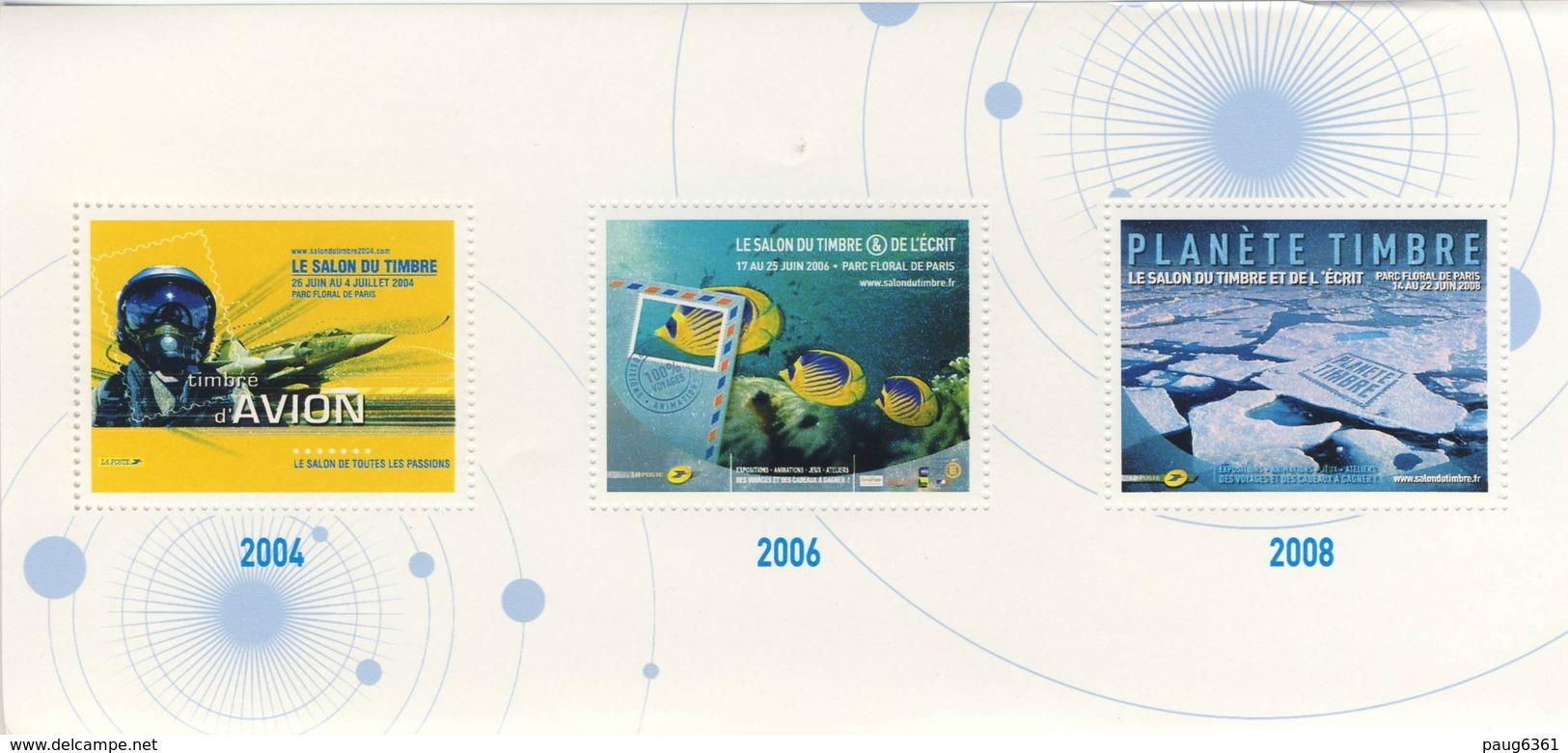 Bloc-feuillet De Trois Vignettes Salon Du Timbre 2004, Salon Du Timbre Et De L'écrit 2006, Planète Timbre 2008 NEUF MNH* - Blocs & Feuillets