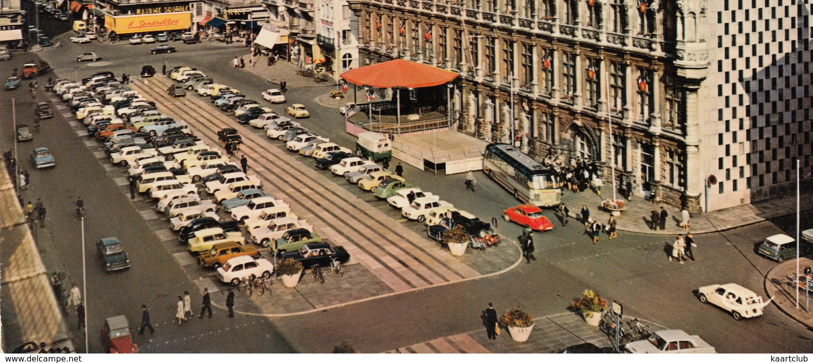 Valenciennes: DAF DAFFODIL, SIMCA 1000, CITROËN AMI 6, 2CV, DKW 3=6, FIAT 850, RENAULT 4, PEUGEOT 404 - L'Hotel De Ville - Toerisme