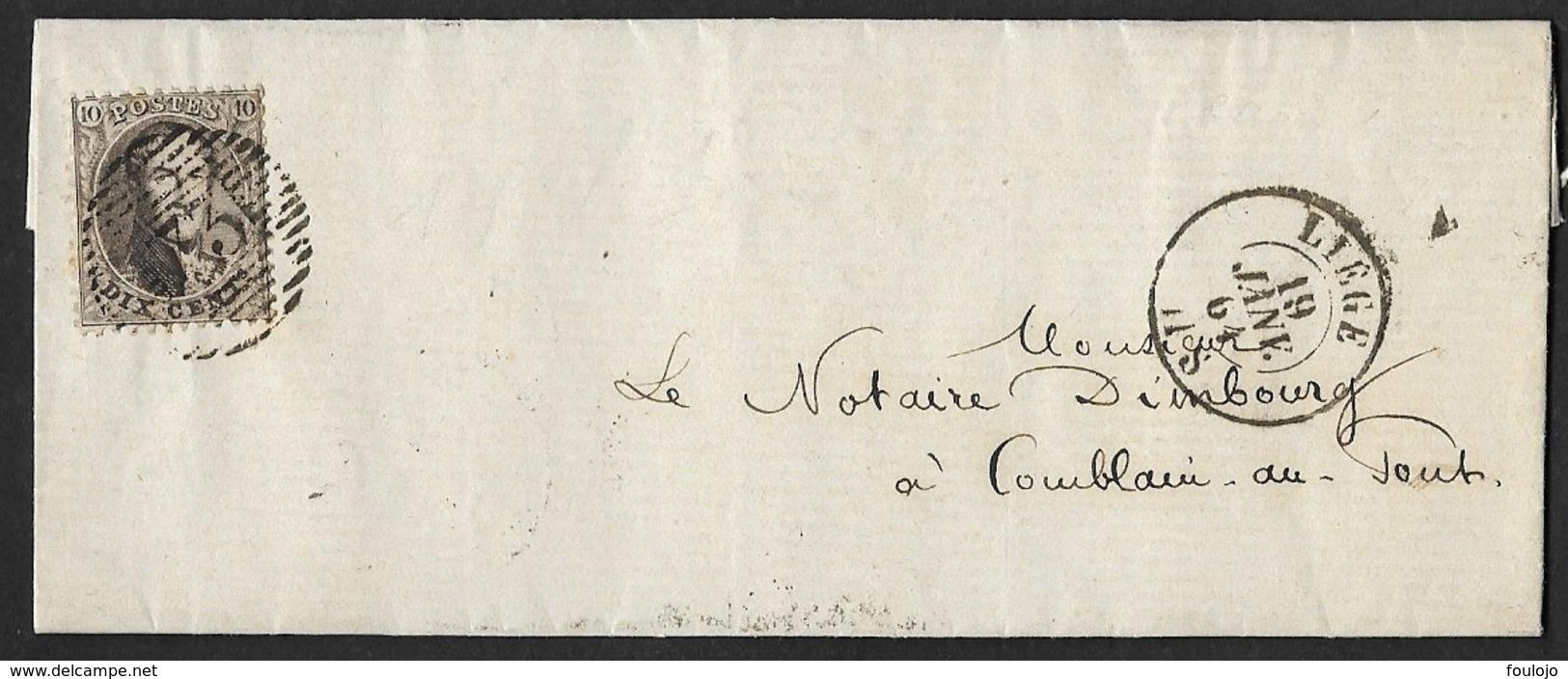 14A Sur Lettre Obl. 18 Barres 73 Vers Comblain-au-Pont  CàD DC Liège DC12 Janv 1864 (Lot 724) - 1863-1864 Médaillons (13/16)