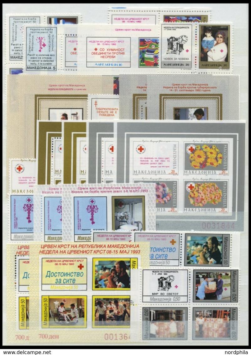 MAKEDONIEN **, Postfrische Partie Verschiedener Ausgaben Von 1992-95, Dazu Zwangszuschlagsmarken Fast Komplett, Prachter - Mazedonien