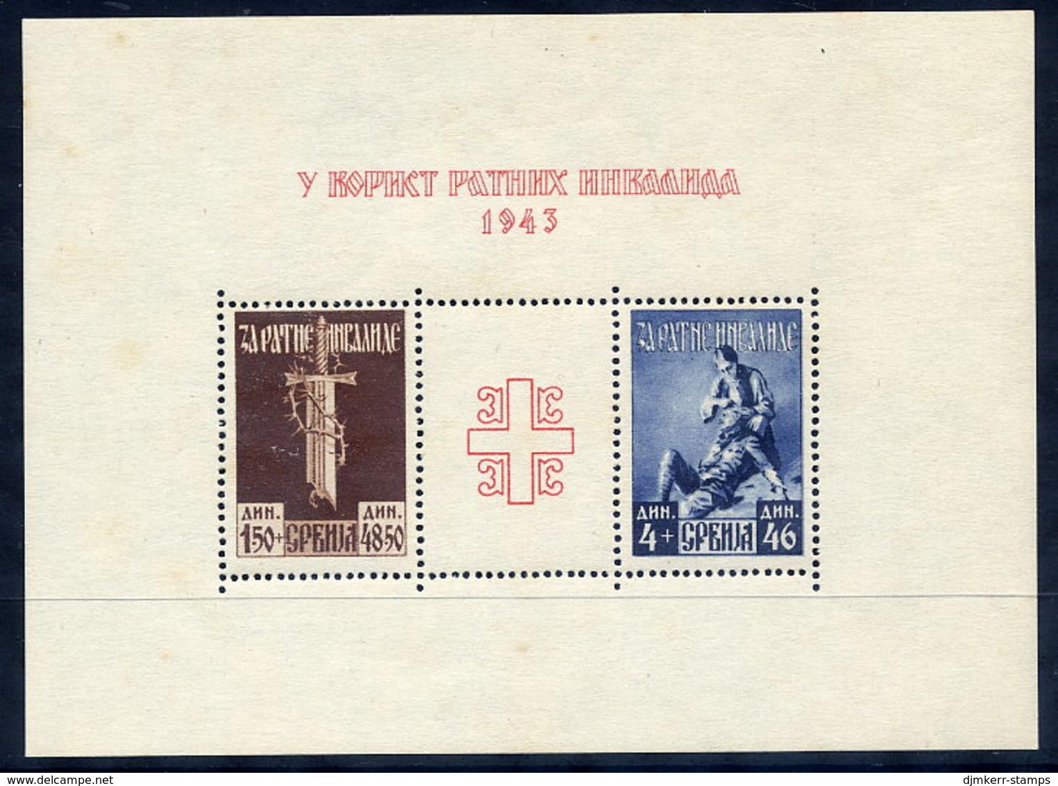 SERBIA 1943 War Invalids Block MNH / **. Michel Block 3 - Occupation 1938-45