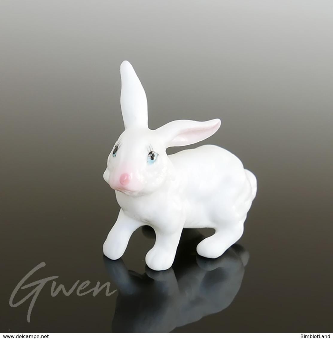 Miniature Ancienne Lapin 4 Cm Biscuit Porcelaine Creuse Animal Figurine Japon - Céramiques