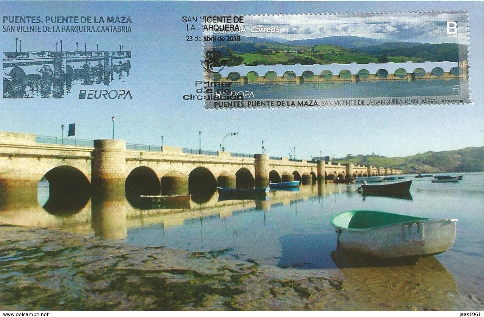 SPAIN. MAXICARD FIRST DAY. MAZA BRIDGE. SAN VICENTE DE LA BARQUERA. 2018 - Tarjetas Máxima