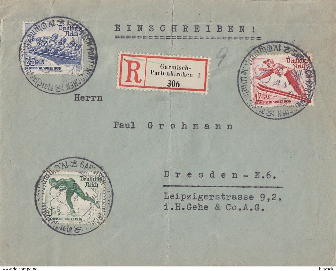 DR R-Brief Mif Minr.600-602 SST Garmisch-Partenkirchen - Deutschland