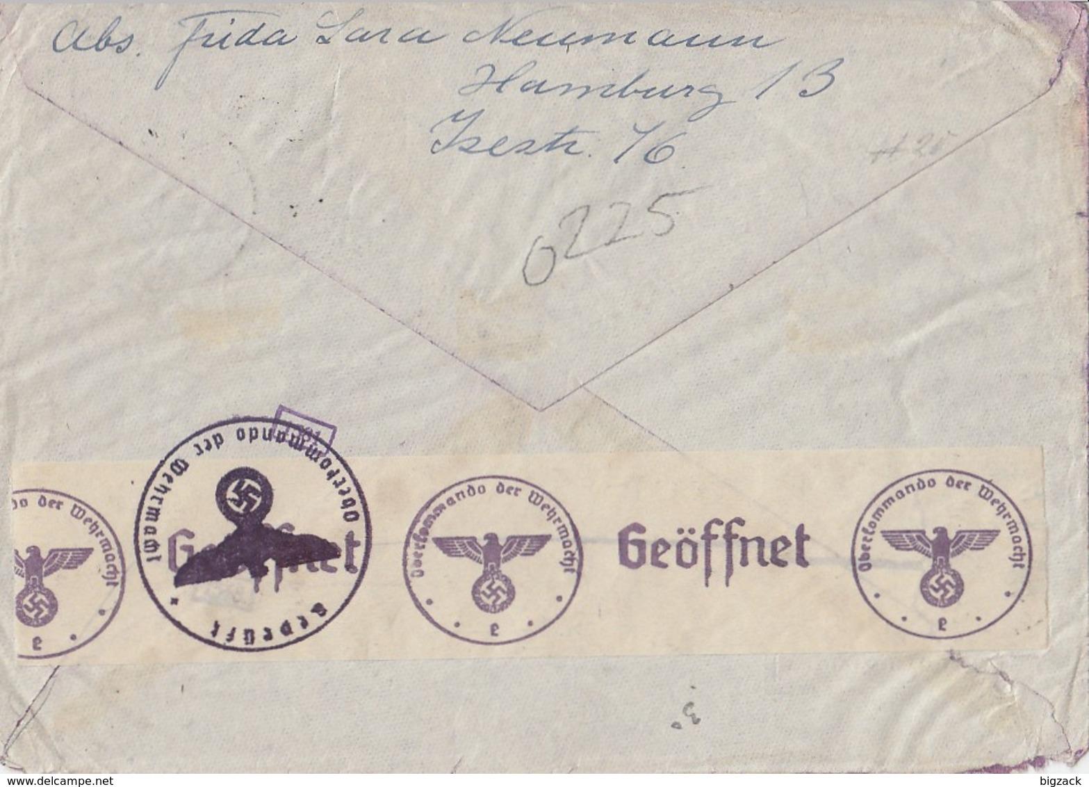 DR Luftpostbrief Mif Minr.515,522,525,713 Hamburg 18.9.40 Gel. In USA Zensur - Briefe U. Dokumente