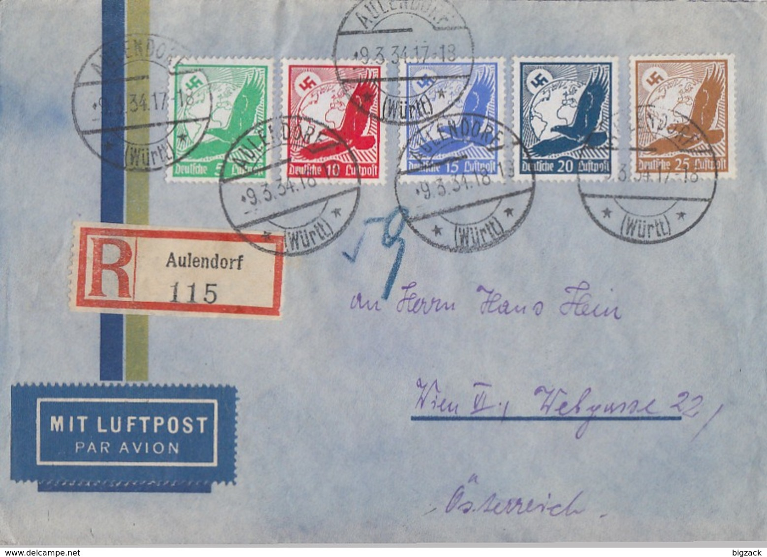 DR R-Luftpost-Brief Mif Minr.529-533 Aulendorf 9.3.34 Gel. Nach Wien - Deutschland