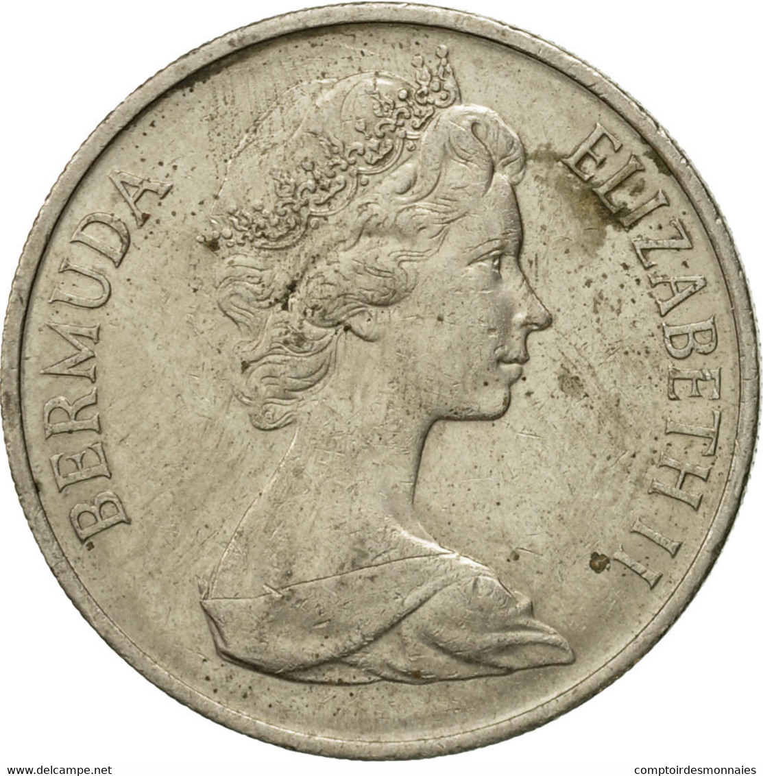 Monnaie, Bermuda, Elizabeth II, 25 Cents, 1973, TTB, Copper-nickel, KM:18 - Bermudes