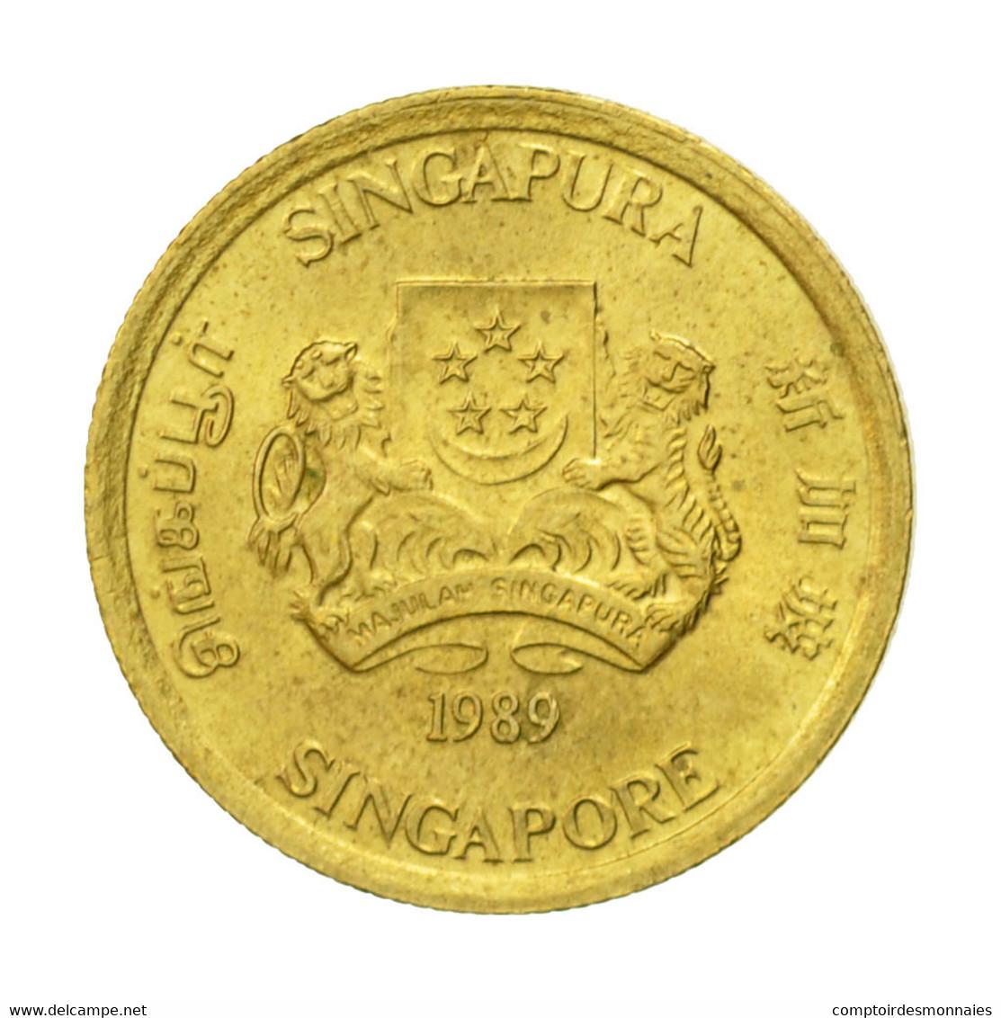 Monnaie, Singapour, 5 Cents, 1989, British Royal Mint, TTB+, Aluminum-Bronze - Singapour