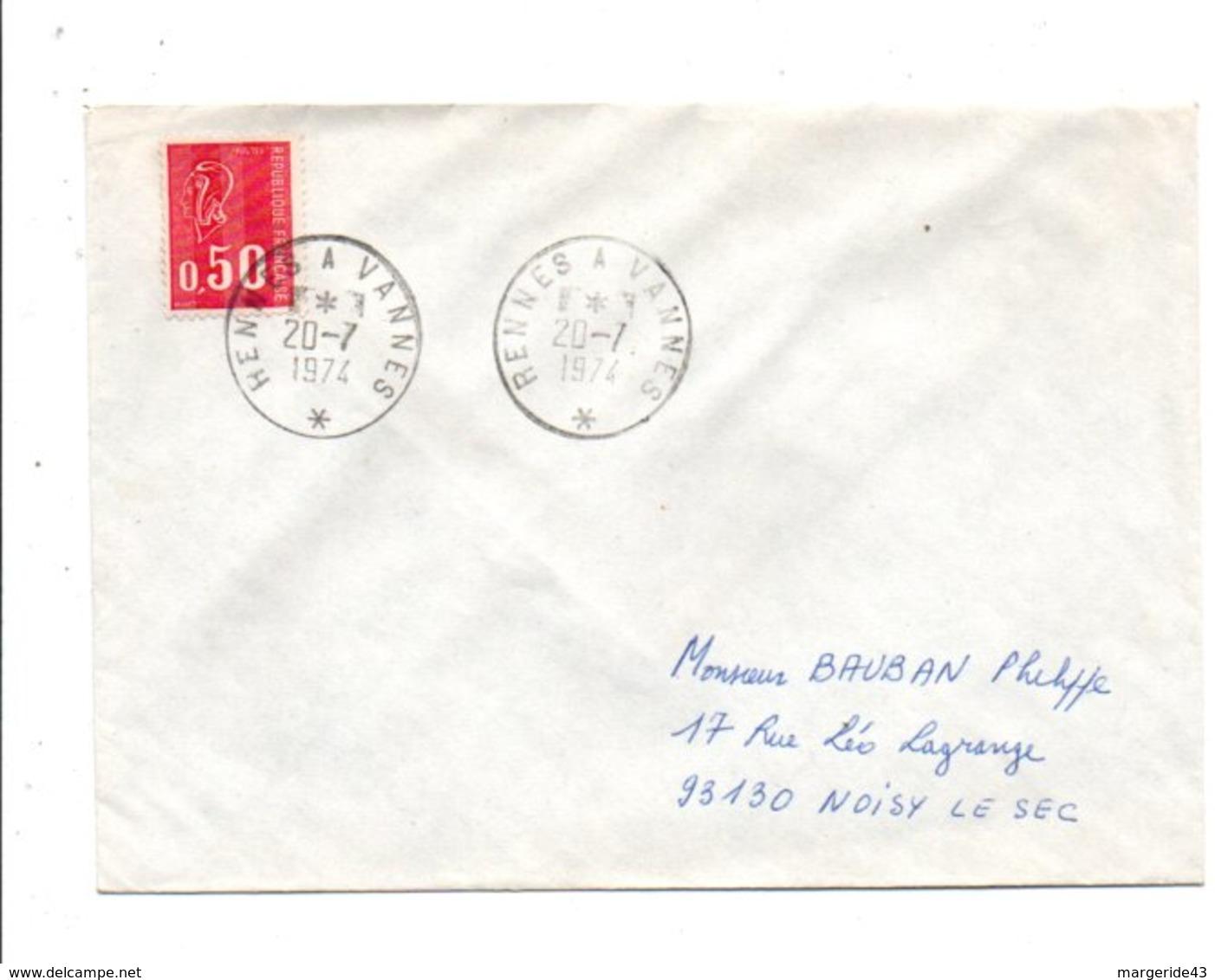 AMBULANT DE RENNES A VANNES DU 20/7/1974 - Marcophilie (Lettres)