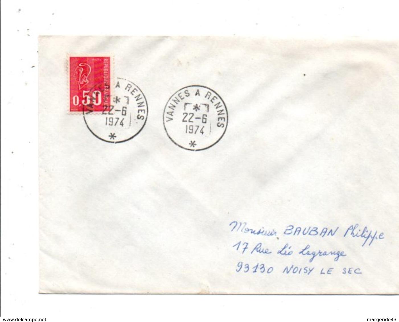 AMBULANT DE VANNES A RENNES DU 22/6/1974 - Marcophilie (Lettres)