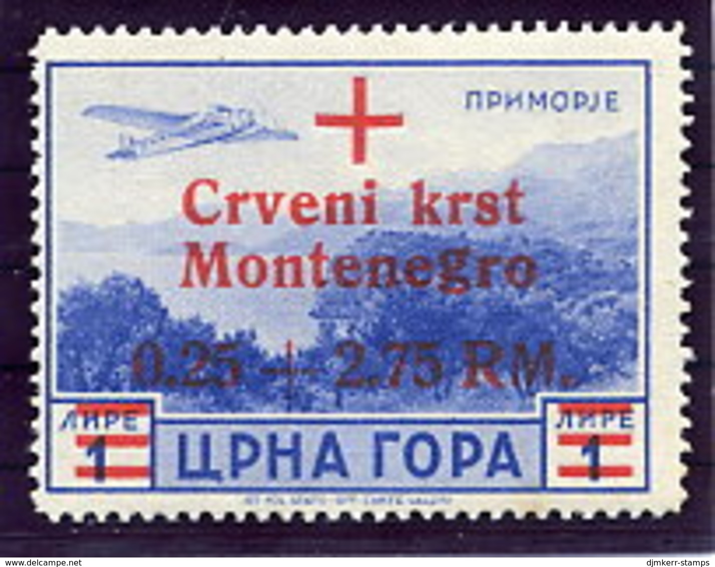 MONTENEGRO 1944 Red Cross Surcharge On 1 L. Airmail MNH / **.  Michel 34 - Occupation 1938-45