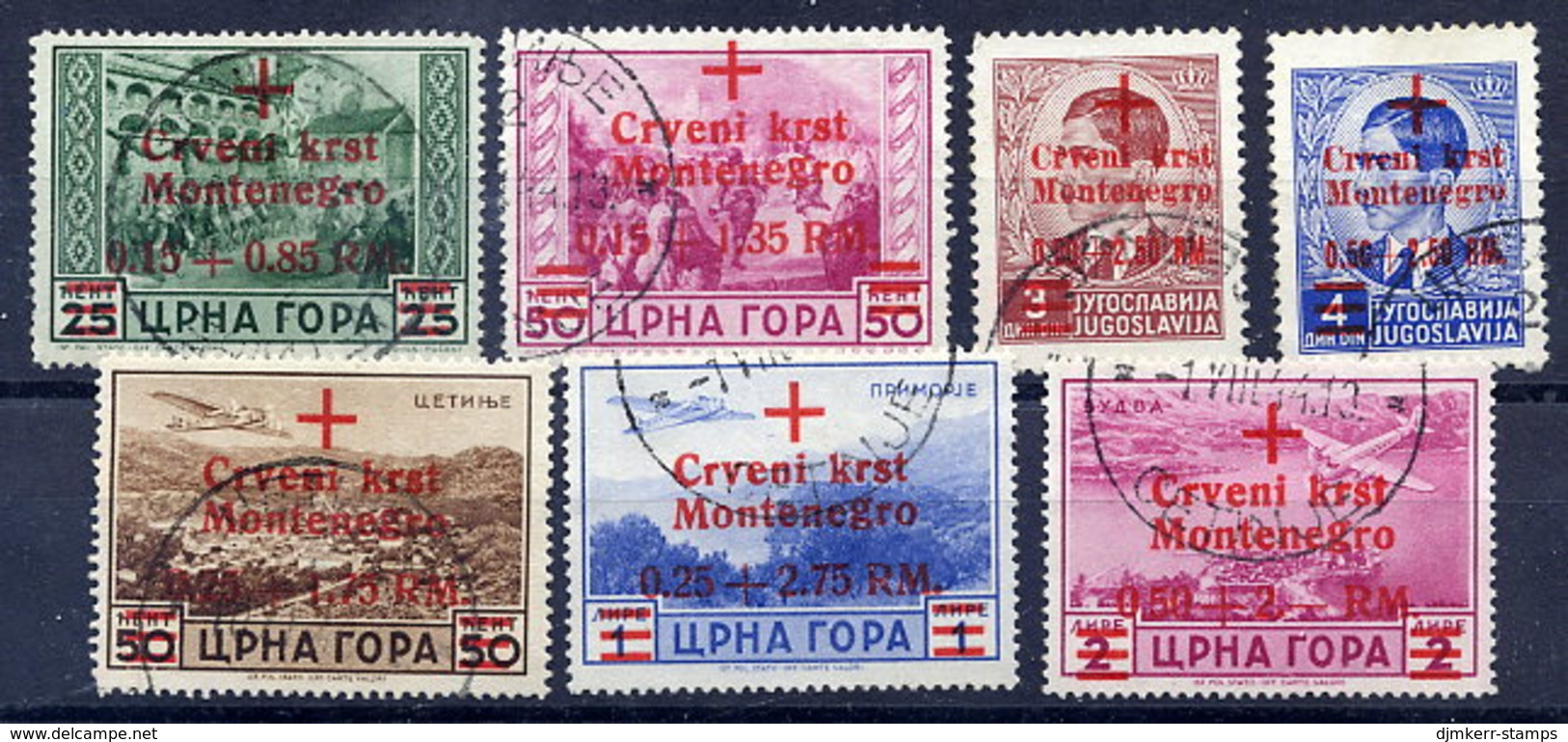 MONTENEGRO 1944 Red Cross Surcharge Set Cancelled.  Michel 29-35 - Occupation 1938-45
