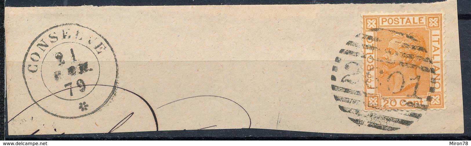 ITALY - Regno 1867 - Vittorio Eman II - 20 Cent  Fancy Cancel Numeral Used Lot#78 - 1861-78 Vittorio Emanuele II