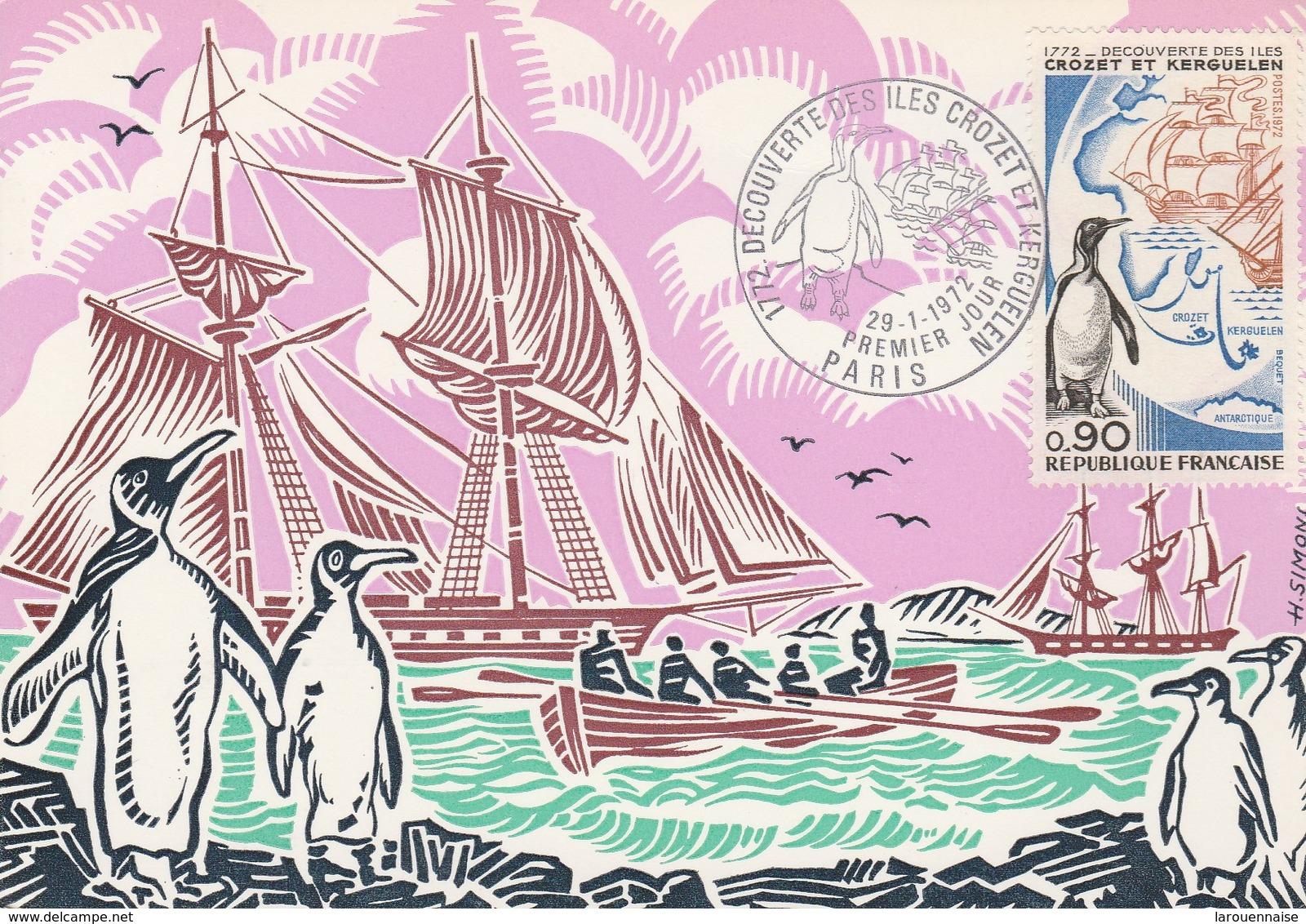 Expédition Polaire - Découverte Des Iles Crozet Et Kerguelen (carte Philatélique) - TAAF : Terres Australes Antarctiques Françaises