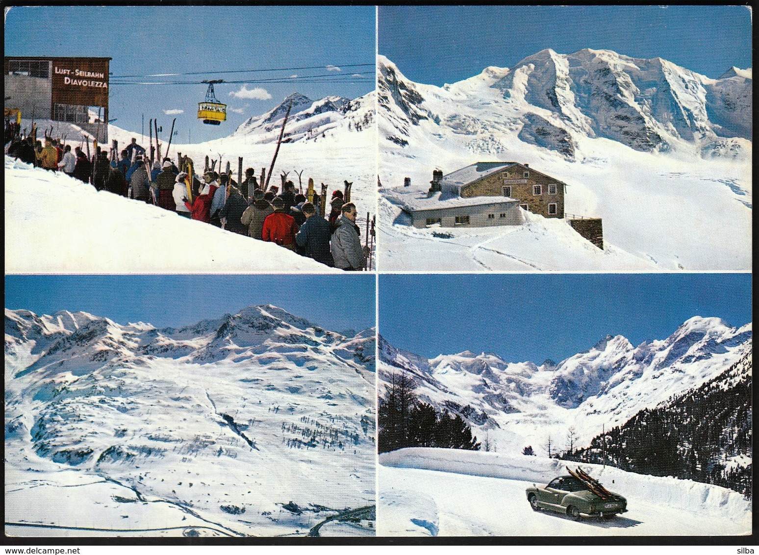 Switzerland 1969 Diavolezza Mit Piz Palu, Diavolezzabahn, Bernina / Cable Car, Gondolas / Tourism, Mountains - GR Grisons