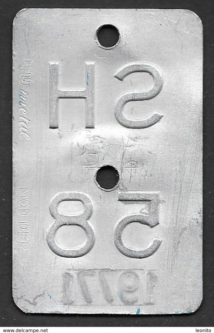 Velonummer Schaffhausen SH 58 - Plaques D'immatriculation