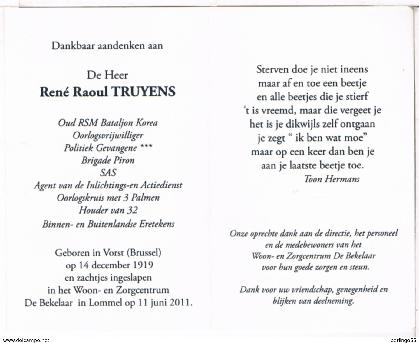 Dp. Korea Strijder. Truyens René. ° Vorst (Brussel) 1919 † Lommel (Home ) 2011 (2 Scan's) - Religion & Esotérisme