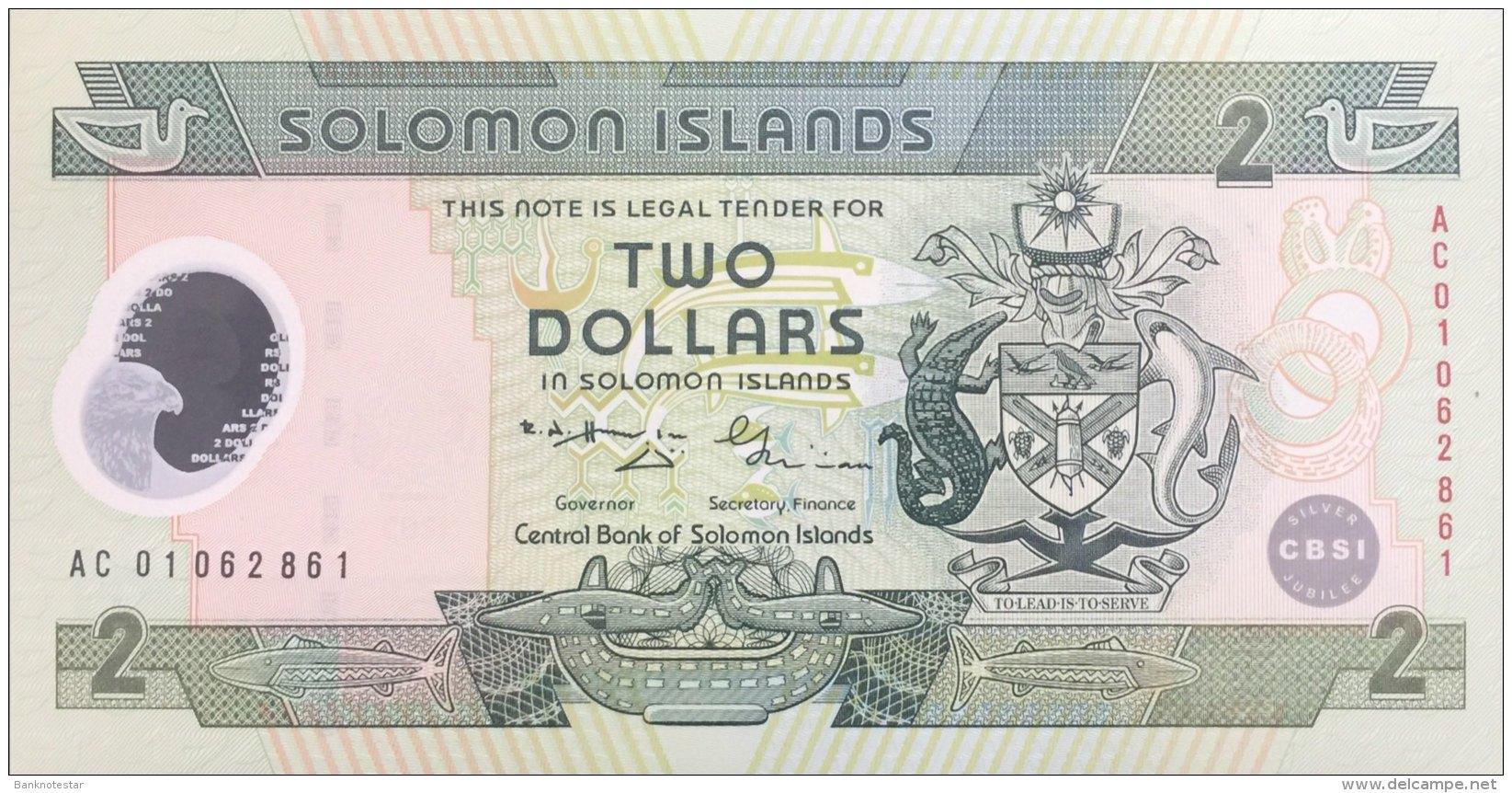 Solomon Islands 2 Dollars, P-23 (2001) - 25 Years Central Bank Note - UNC - Salomons