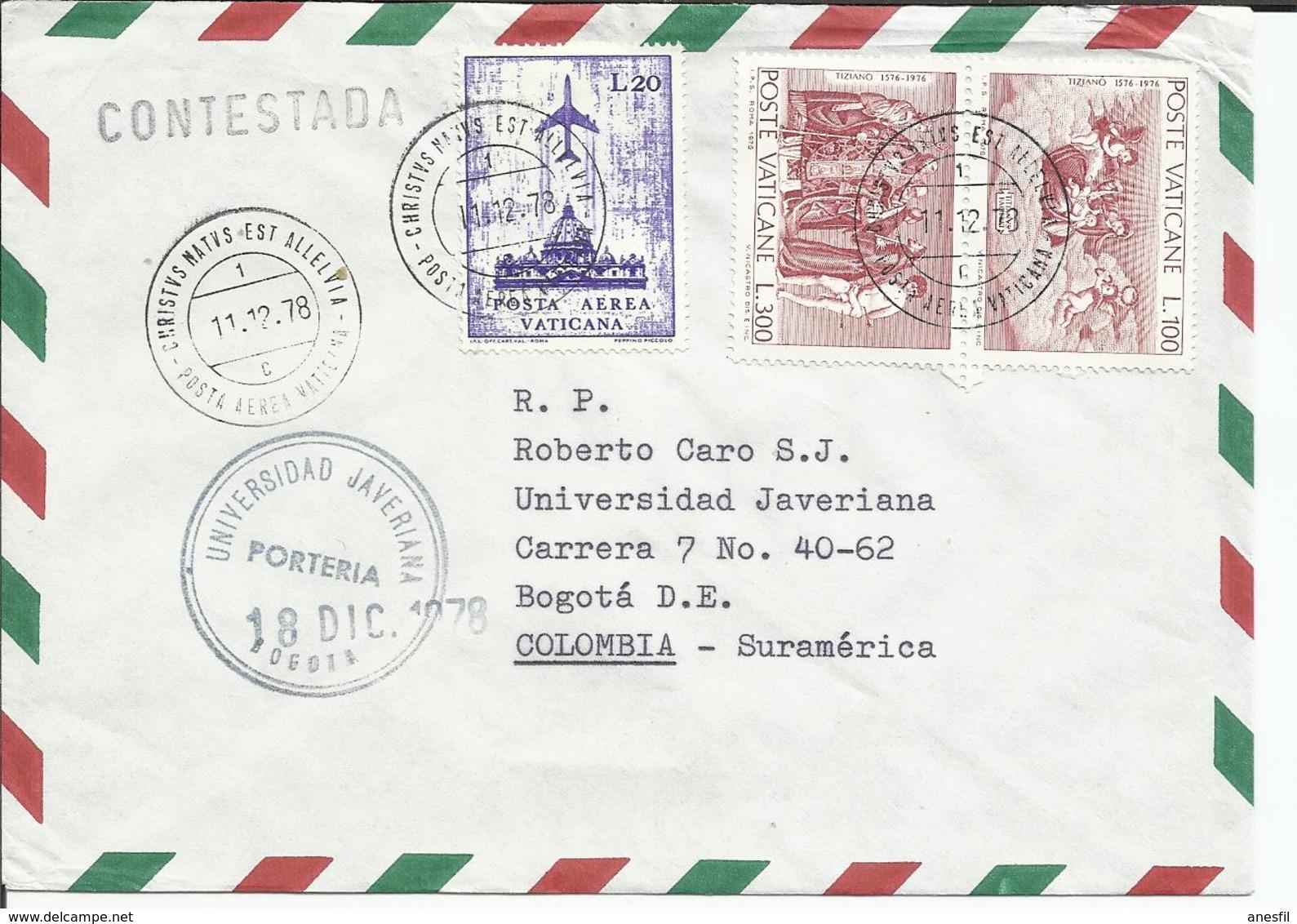 Vaticano. 1978. Carta Dirigida A La Universidad De Javeriana (Colombia) - Vaticano (Ciudad Del)