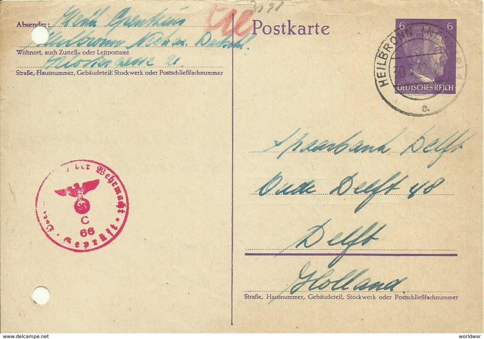 1942  Zensurierte Postkarte Von Heilbronn Nach Delft, Holland - Ganzsachen