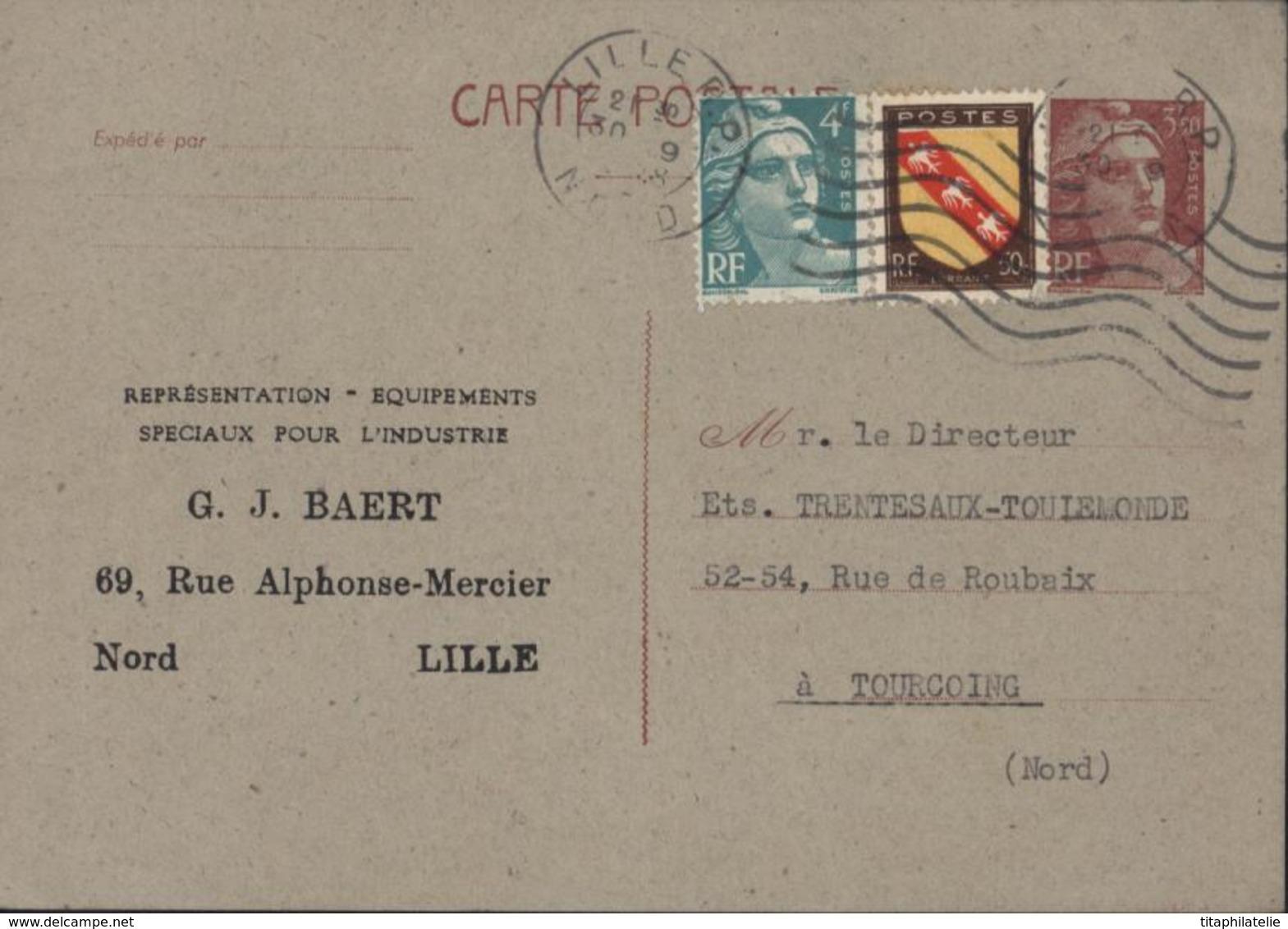Entier Marianne Gandon 3.5 Brun Storch E2 Commercial GJ Baert Outil Dessiné Au Dos - Overprinter Postcards (before 1995)