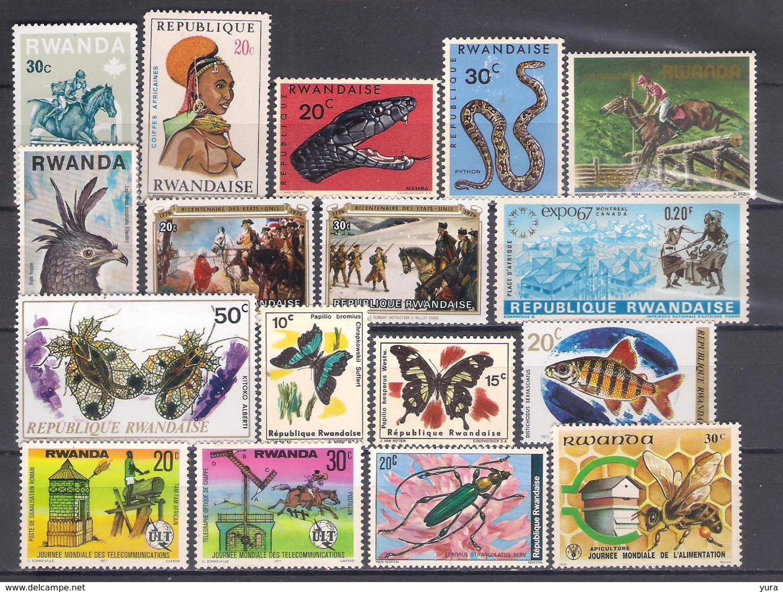 Lot 40 Rwanda Small Collection 17 Different, MNH-13, Mint-4 - Collezioni