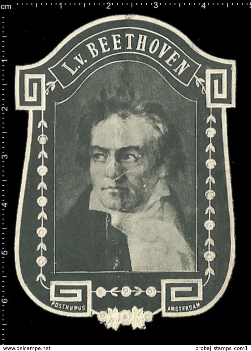 Old Original Dutch Poster Stamp Cinderella Reklamemarke Erinnofili La Publicité Vignette Ludwig Van Beethoven Composer - Music