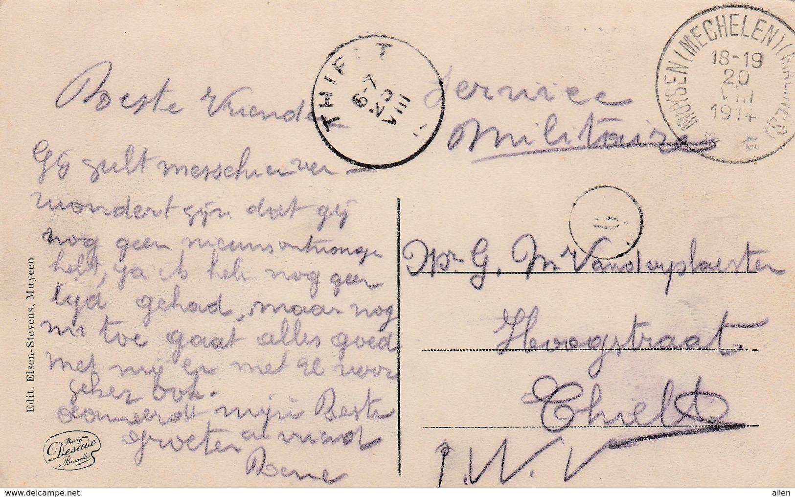 Kaart (Muysen Kasteel De Betzenbroeck) Op 20.VIII.14 Van Depot Relais Muysen(Mechelen) Naar Thielt 23.VIII Aankomst. - Invasion