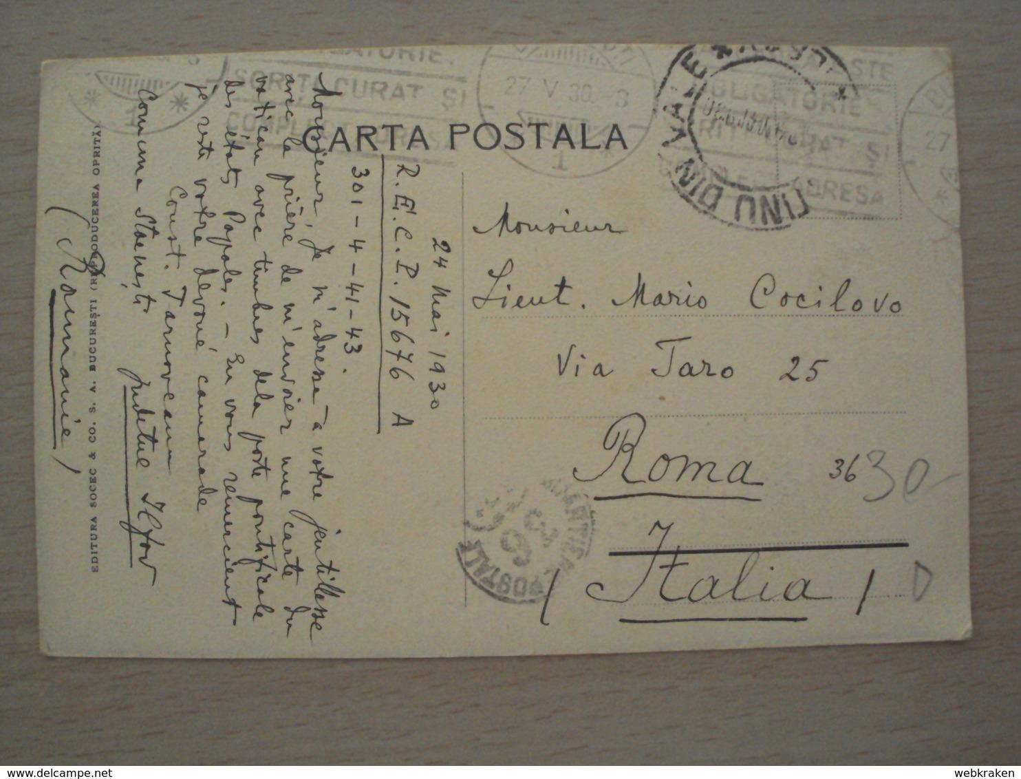 ROMANIA ROMANIE CARTOLINA DA BUCURESTI BUCAREST CON FRANCOBOLLI COMMEMORATIVI STORIA POSTALE - Romania