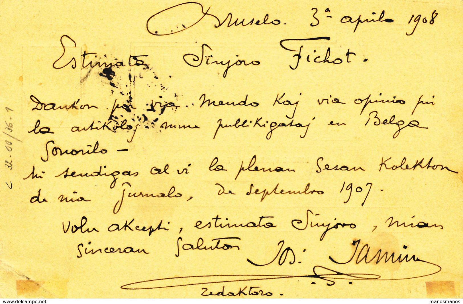 040/27 - BELGIQUE ESPERANTO - Carte Illustrée Journal En Esperanto La Belga Sonorilo - TP Grosse Barbe BRUXELLES 1908 - Esperanto